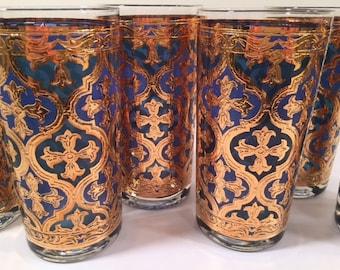 Georges Briard Signed Mid-Century Blue and 22-Karat Gold Italian Renaissance Cross (Firenza) Highball Glasses (Set of 6)