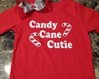 Candy Cane Cutie- for you little girl & Hair bow