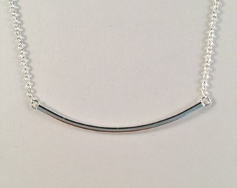Curve Bar Necklace, Sideway Curve Necklace, 925 Sterling Silver Sideway Honrizational arch necklace
