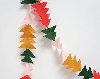 Bäume und Dreiecke Felt Christmas Garland, Christbaumschmuck, Weihnachten Ammer, festliches Dekor Dreieck Garland, Filz Girlande