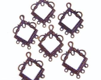 Antiqued Copper Chandelier, diamond shaped chandelier, 26x25mm, 2 each, D122