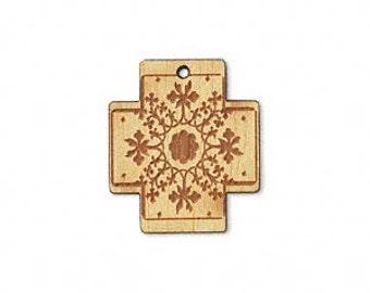 Wood Cross, Laser Engraved Cross, One Sided, Nangka Wood, Top Drilled Cross, 20x18x3mm, 1 each, D877