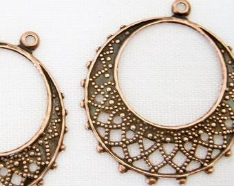 Copper Hoop, filigree chandelier, round antiqued copper brass, 25mm, 4 each, D276