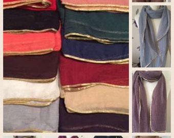 Gold trim glitter shimmer hijab scarf shawl sarong beach wrap