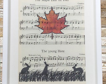 Vintage Music Sheet Maple Leaf & Hare Print and Frame