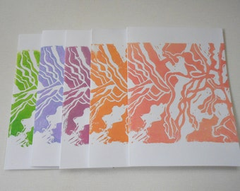 Lino cut hand stamped block print blank card set botanical theme