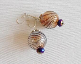 Blown glass ball drop dangle earrings of brown and white swirls