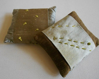 Dupioni silk sachet lavender filled hand embroidered kantha french knots silver gray brown