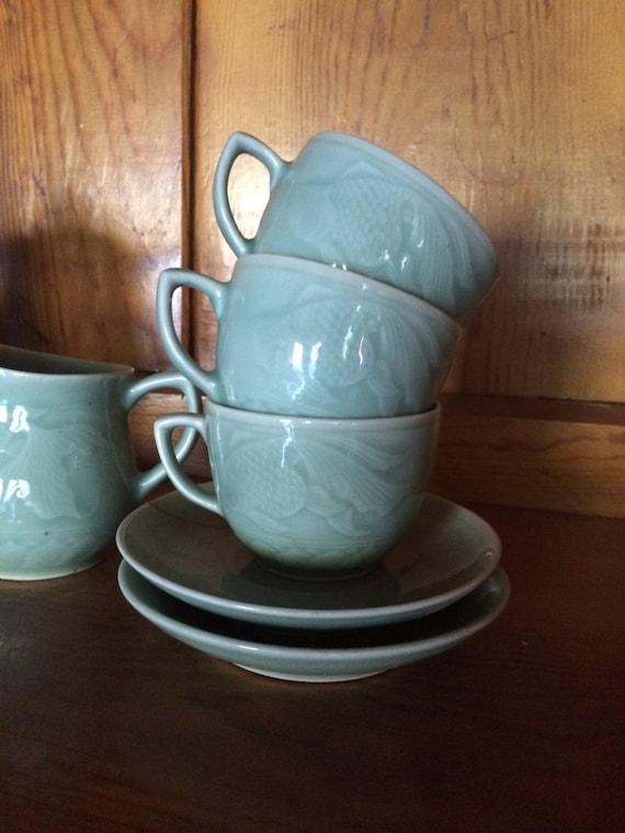 Vintage celadon koi fish tea set by spindlehausdesigns on etsy for Fish tea bags