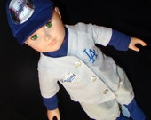 Los Angeles Dogers Base Ball Uniforms - Outfit is Made to Fit American Girl (Boy) Style & Size Doll Clothes, Outfit