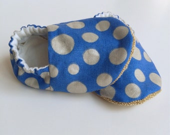 Ready to Ship - Baby Boy Shoes - Baby Moccs - Soft Sole Baby Shoes - Cloth Baby Shoes - Blue Boy Shoes - Baby Moccasins - Crib Booties