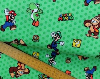 Nintendo Super Mario Game Characters Green Gamers Video Game Cotton Fabric per metre per fat quarter