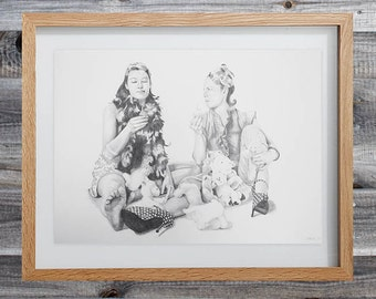 "Pencil Drawing ""The Cupcakes"" With Frame"