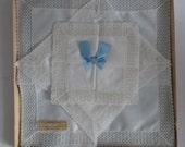 Set of 3 Nottingham Lace trimmed handkerchiefs hankies wedding vintage