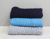 Chunky Knit Throw Gifts Wool blanket Knitted blanket Chunky blanket Knit Bulky super bulky blanket Bulky Gift Dark Blue Mother's Day
