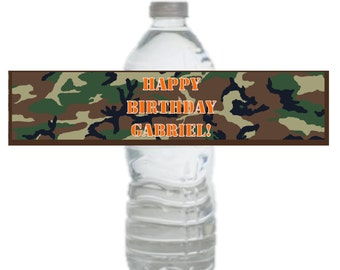 Camo Birthday Party Printable Drink Label Personalized Download