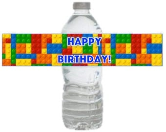 Lego Birthday Party Printable Drink Label Instant Download