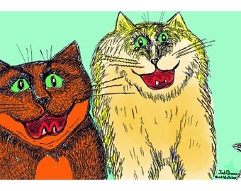 Full color Cat Drawing  Signed by Artist