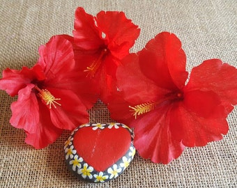 Red hibiscus silk flowers set of three loose flowers