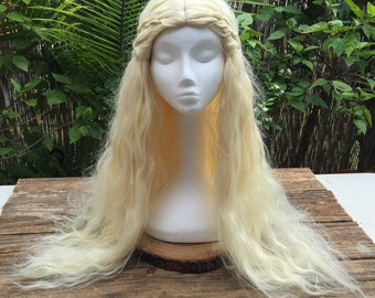 Daenerys Targaryen Double Leather Wrapped Braid Fluffy Curly Costume, Cosplay Wig