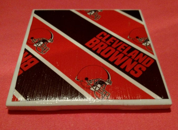 Nfl browns drink coasters handmade coasters by for Handmade drink coasters