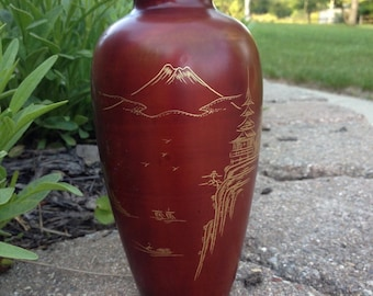 Painted Wood Japanese Vase