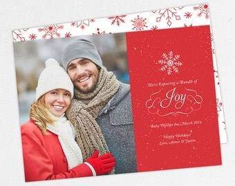 24 HOUR TURNAROUND, Expecting a Bundle of Joy Cards, Holiday Pregnancy Announcement Cards, Christmas Pregnancy Announcement Cards, DIY