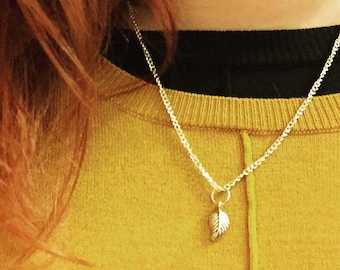 Silver Plated Mini Leaf Necklace