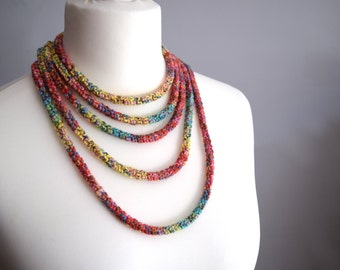 Colorful crochet necklace, skinny scarf in cotton, african style necklace,  fashion accessory, loop scarf, graduation gift