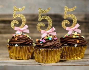12 Five cupcake toppers, pink and gold 5, Turn 5 Birthday decorations