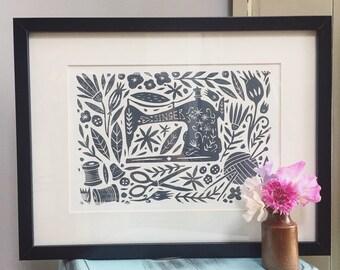 Singer Sewing Machine Lino Print