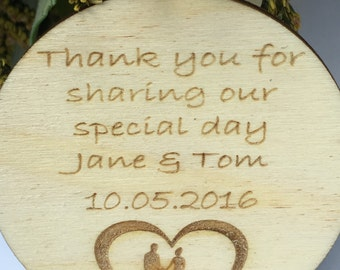 Wedding Favour Magnets Personalised, With A Cute Bride & Groom Design, Rustic Wedding favors, Thank You Gift And Keepsake, Packs Of 10.