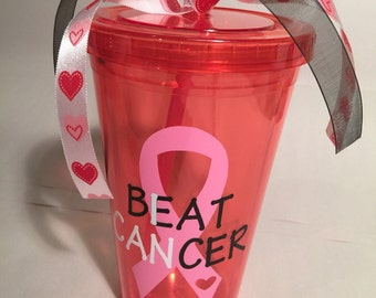I can beat cancer tumbler! Breast cancer tumbler, breast cancer awareness tumbler, survivor tumbler, pink tumbler