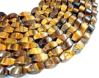 Yellow Tiger Eye Beads, 8x16mm Swirl Beads, 15.5 Inch, Full strand, Approx 24 beads, Hole 1 mm, B quality (426060001)