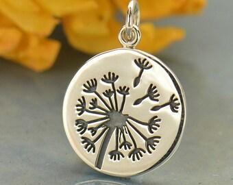 Sterling Silver Large Dandelion Charm