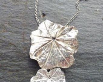 Pendant Alchamilla Leaves Fine Silver Handmade  -