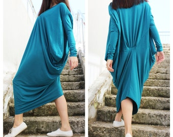 Teal Asymmetric Kaftan / Maxi Dress / Loose Extra Long Sleeve Kaftan /  by Fraktura D0028
