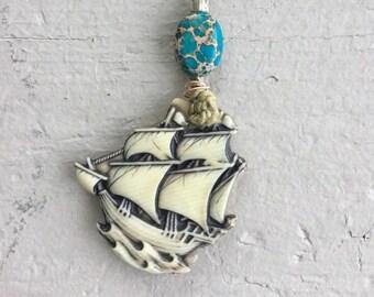 Nautical boho necklace, vintage ship necklace, jasper necklace, bohemian ship necklace