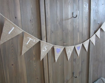 It's a girl burlap banner with lavender hearts - burlap pennant - birth announcement bunting