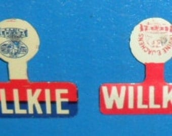 1940 Wendell Willkie - Celluloid Campaign Tab Buttons Lot of 2