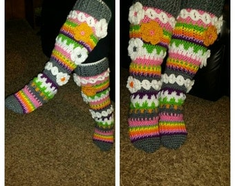 Crochet Detailed Knee High Flower Socks with Removable Ribbon Tie