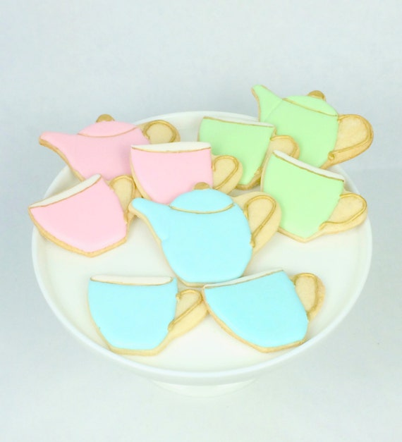 Tea Party Set of Tea Pot and Tea Cup Cookies