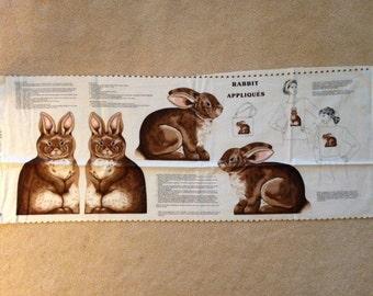 Rabbit, Fabric Panel, Cut and Sew, Rabbit Appliques, Stuffed Animal, Stuffed Pillow