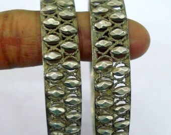 vintage antique tribal old silver bangle bracelet chudiyan set 2pc handmade