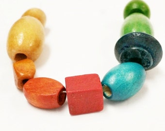 9 Focal Wood Beads, Geometric Wood Beads, Wood Bead Assortment, Natural Wood Beads, Assorted Wood Beads, 9 Assorted Beads