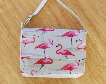 Flamingo Print Messenger Handbag