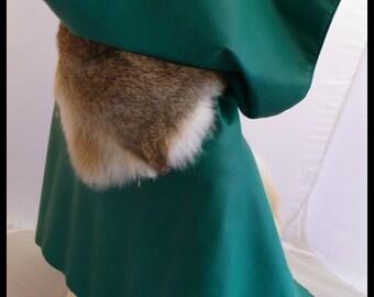 Bolero hooded Elven - lamb and rabbit fur leather
