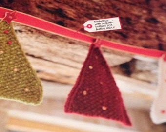 Sparkly Knitted Tree Bunting Knitting Pattern