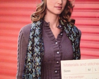 Ladies Knitted Cardigan With Deep Welt And Hat Knitting Pattern