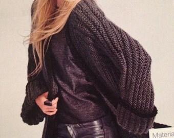 Ladies Knitted Long Ridged Jacket Knitting Pattern